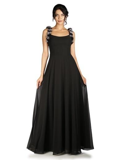 Pierre Cardin Şifon Askı Çiçekli Uzun Abiye Elbise Siyah